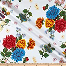 Oilcloth International Oilcloth Mums White Fabric By The Yard