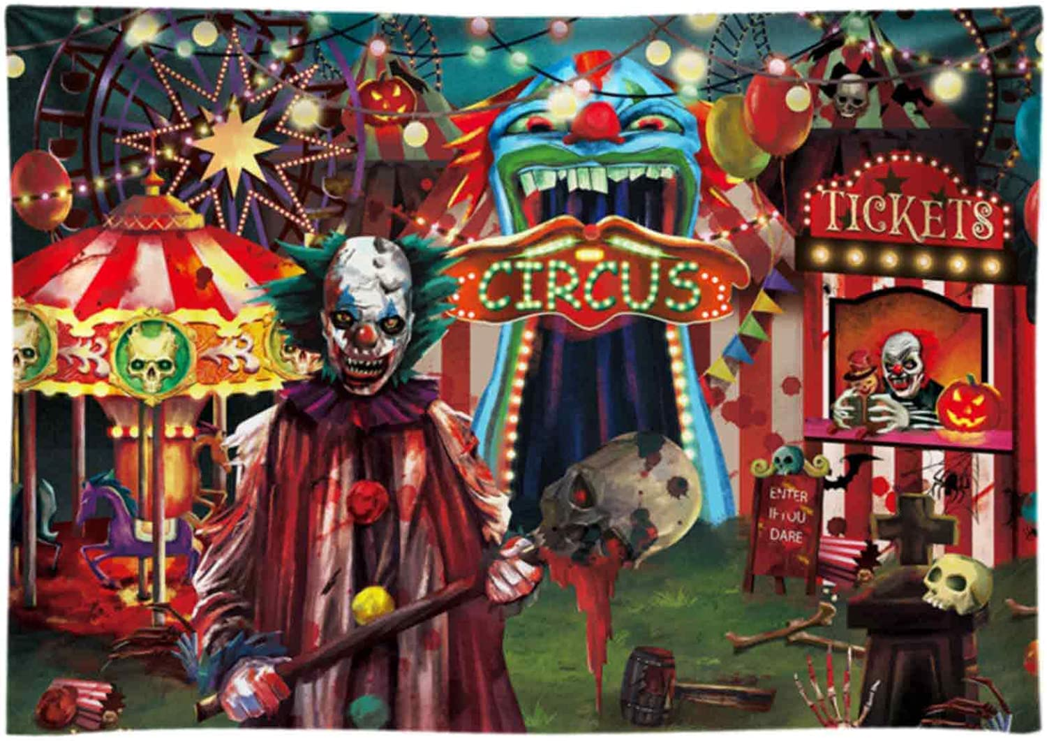 Funnytree 7x5ft Halloween Evil Circus Theme Backdrop for Photography Clown Creepy Carnival Haunted House Horror Scary Birthday Party Supplies Decorations Banner Home Decor Photo Booth Props Background