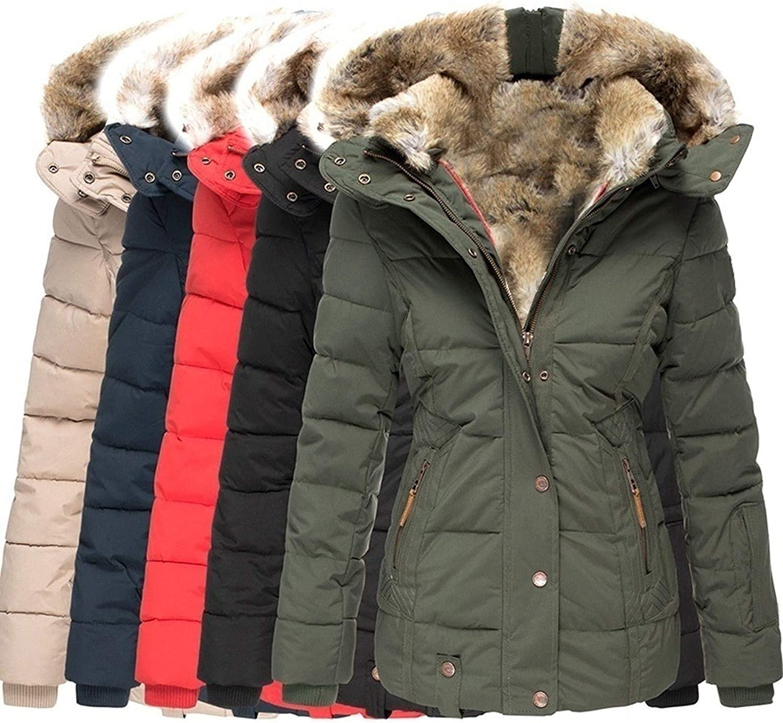 Womens Coats Winter Zipper Hooded Double Button Closure Faux Fur Inside Down Jackets Windproof Waterproof
