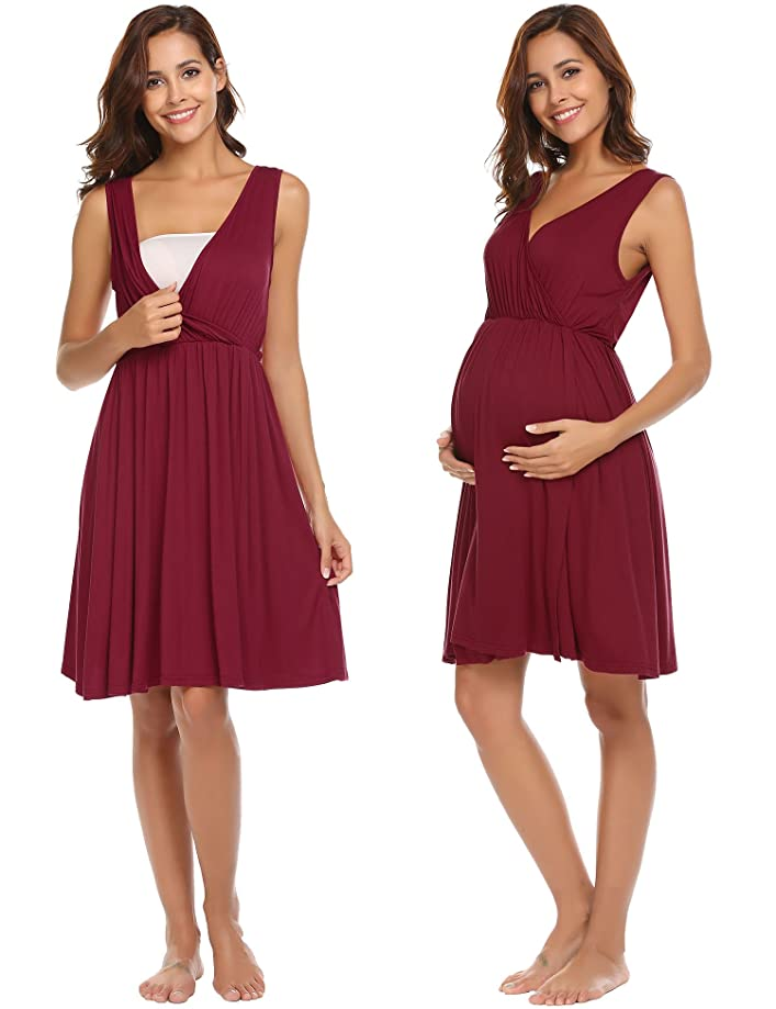 Ekouaer Womens Delivery/Labor/Maternity/Nursing Nightgown Pregnancy Gown for Hospital Breastfeeding Dress S-XXL