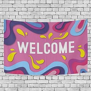 Composición abstracta de bienvenida con tapiz estilo origami para colgar en la pared, decoración del hogar, sala de estar, dormitorio, 152 x 101,6 cm, tela, multicolor, 80x60(in)