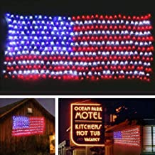 MZD8391 Waterproof American US Flag LED String Light-[Upgraded Larger and Safer]-USA Flag Light/Decorative Hanging Ornaments for Independence Day, Memorial Day,July 4th, National Day Decoration