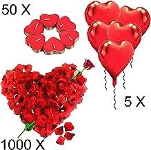 Jonami Kit Romántico de Velas y Pétalos | 50 Velas en Forma de Corazón + 1000 Pétalos de Rosa Roja de Seda + 5 Globos Corazón Rojo - Decoración para Bodas, San Valentín y Compromiso