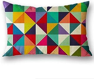 HONG98 Set Funda Cojines Comodo Almohada de Pareja con dise/ño geom/étrico Sencillo Estilo Algod/ón Lino Throw Pillow Case Funda de Almohada para Coj/ín 30x50cm A
