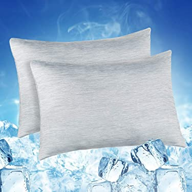 Elegear 2Pcs Cool Pillowcases for Hair and Skin, 2-in-1 Design Pillow Cases for Help Sleep With Japanese Cooling Fiber, Hypoallergenic and Breathable (Gray, 50x75cm)