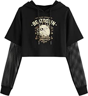 Womens Sweatshirts Rose Print/ Crop Top Long Sleeve Black Drawstring Hoodies Hatop