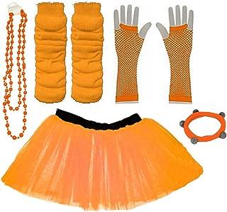 EU 34-44 Orange A-Express 1980s Femme Adulte Neon Tutu Jupe ray/é Jambi/ères Collier Gants R/ésille Partie Complet D/éguisement Ensemble