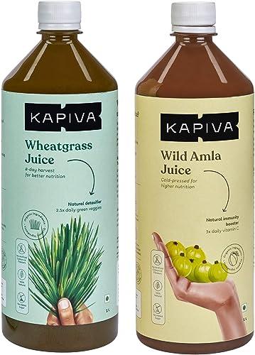 Kapiva Daily Detox Combo Kapiva Wheatgrass Juice 1L Kapiva Wild Amla Juice 1L Ideal Drink to Improve Immunity and Digestion Natural Detoxification Juice for Good Health