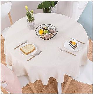 Gamvdout Élégant et Simple Couleur Solide Table Ronde en Tissu en Coton et Lin mélangé Petit Tissu de Table fraîche Table ...