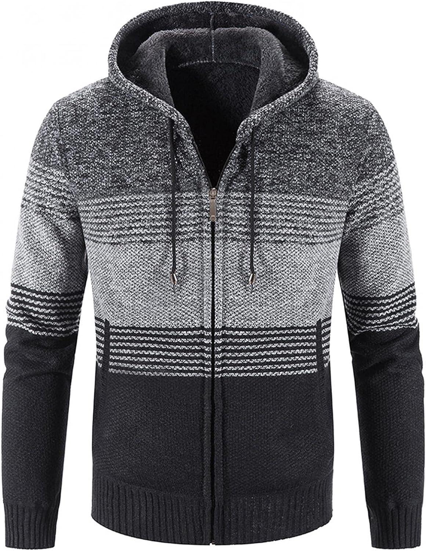 Surprise price Sweater Hoodies for Men Zip Up Striped Warm Jacket Fleece Winter Great interest