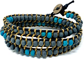 Charming Shark Adjustable Bracelet Jewelry Men Triple Wrap with Natural Wood Beads Featuring a Variety of Colors and Style...