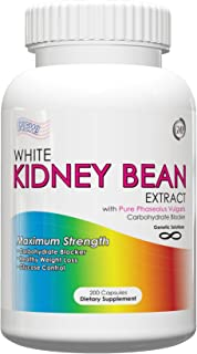 White Kidney Bean Extract- 1000mg Per Serving, 200 Capsules, 90 Day Supply, Carb Blocker and Appetite Suppressant, (Holida...