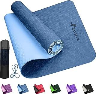 ROMIX Yogamatta, 6MM Tjock Dubbel Sidigt TPE Träningsmatta med Bära Väska och Rem, 183 X 61 X 0.6 CM Miljövänlig Halkfri F...