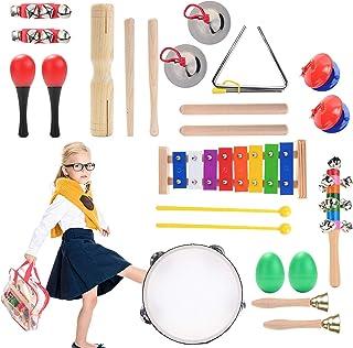 Herefun 22 Pièces Instrument de Musique en Bois pour Enfant, Jouets de Percussions avec Xylophone, Tambourin, Triangle et ...