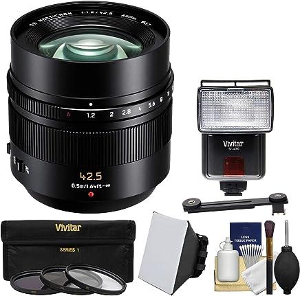 Panasonic Lumix G 42.5MM F / 1.2Leica DG Nocticron Asph。レンズ(ブラック) with 3UV/CPL / nd8フィルタ+フラッシュ+ソフトボックス+ディフューザーキットforシリーズGカメラ