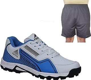 FOOTFIX Men's Arrow White Blue Cricket Shoes, Cricket Sports Shoes with Free Black Shorts