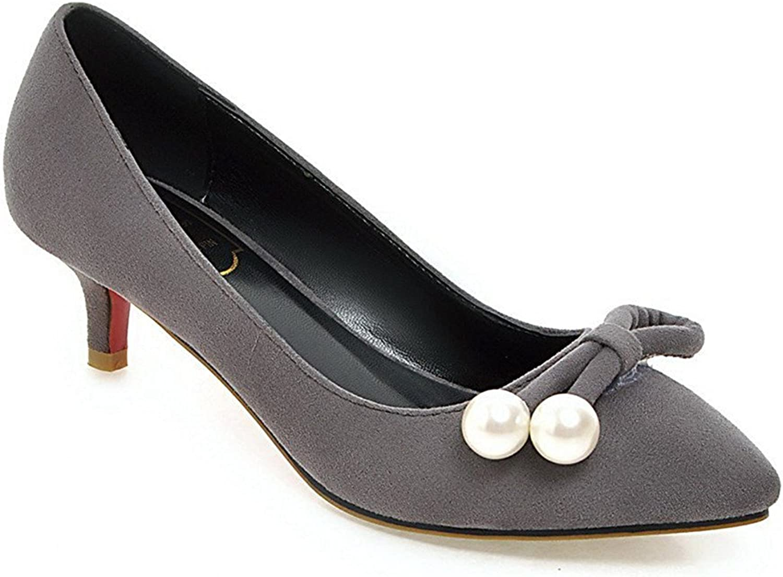 ebc7edeb748a2 Tirahse Comfortable Women's Pull On Kitten Heels Imitated Suede ...