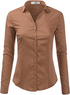 Doublju Basic Slim Fit Long Sleeve Button Down Collared Shirts for Women with Plus Size