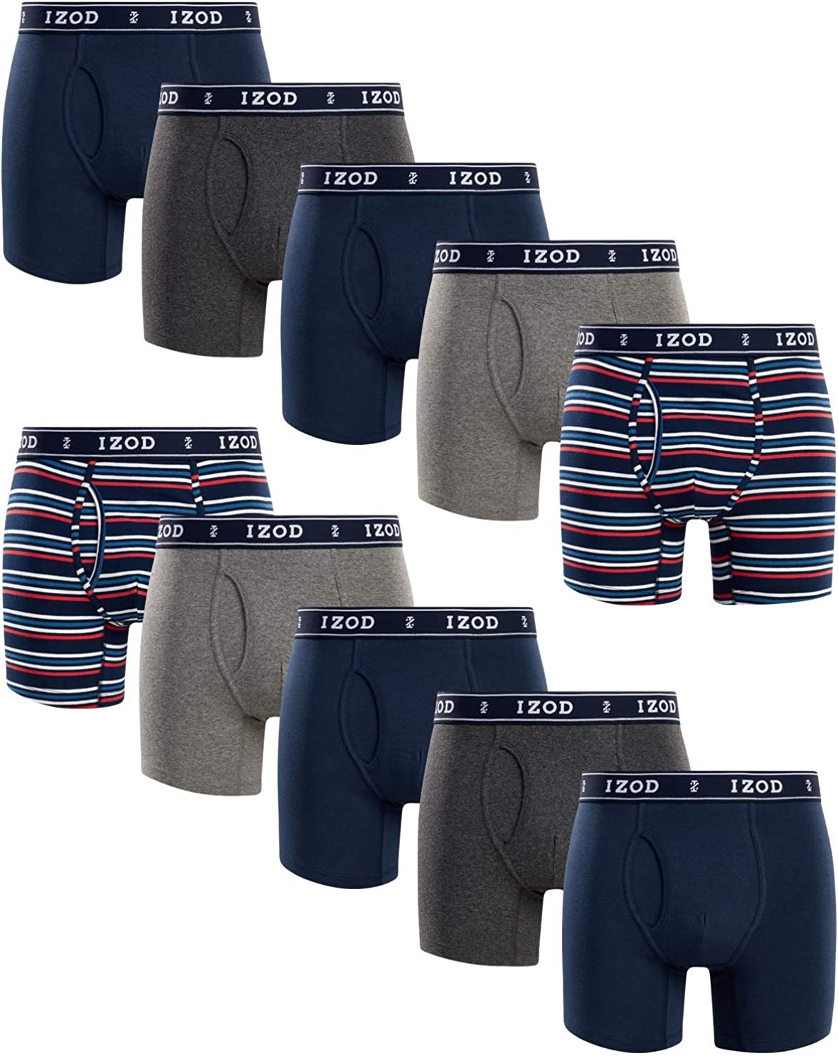 IZOD Men's Underwear – Cotton Stretch Boxer Briefs with Functional Fly (10 Pack)