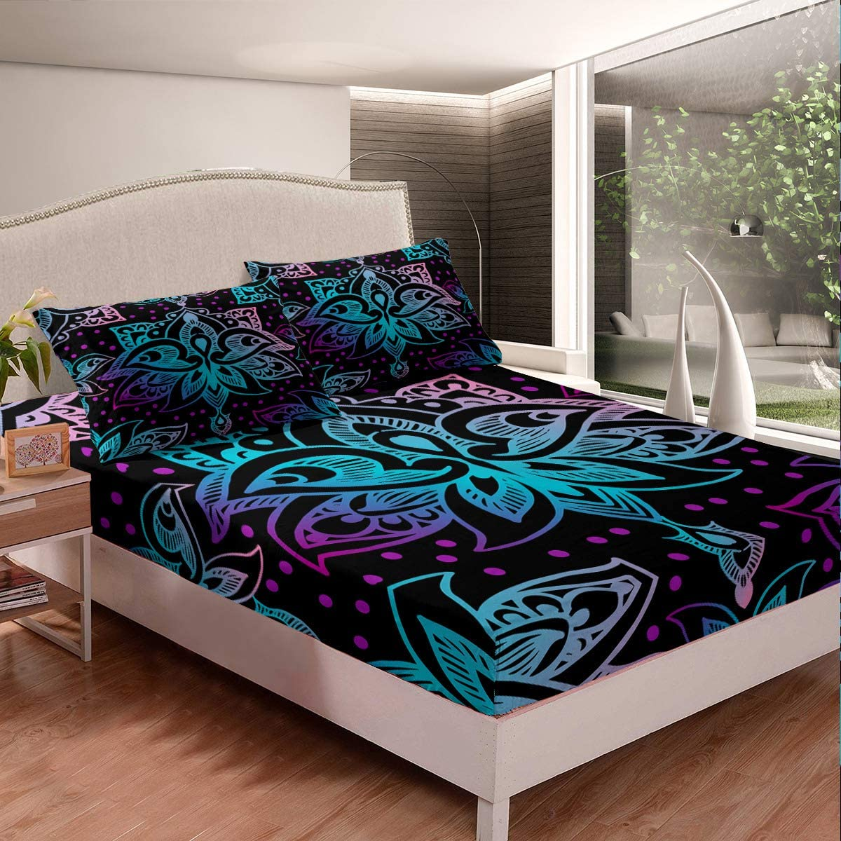 Purple Bloom Bed New item Fitted specialty shop Sheet Abstract Set Supe Floral