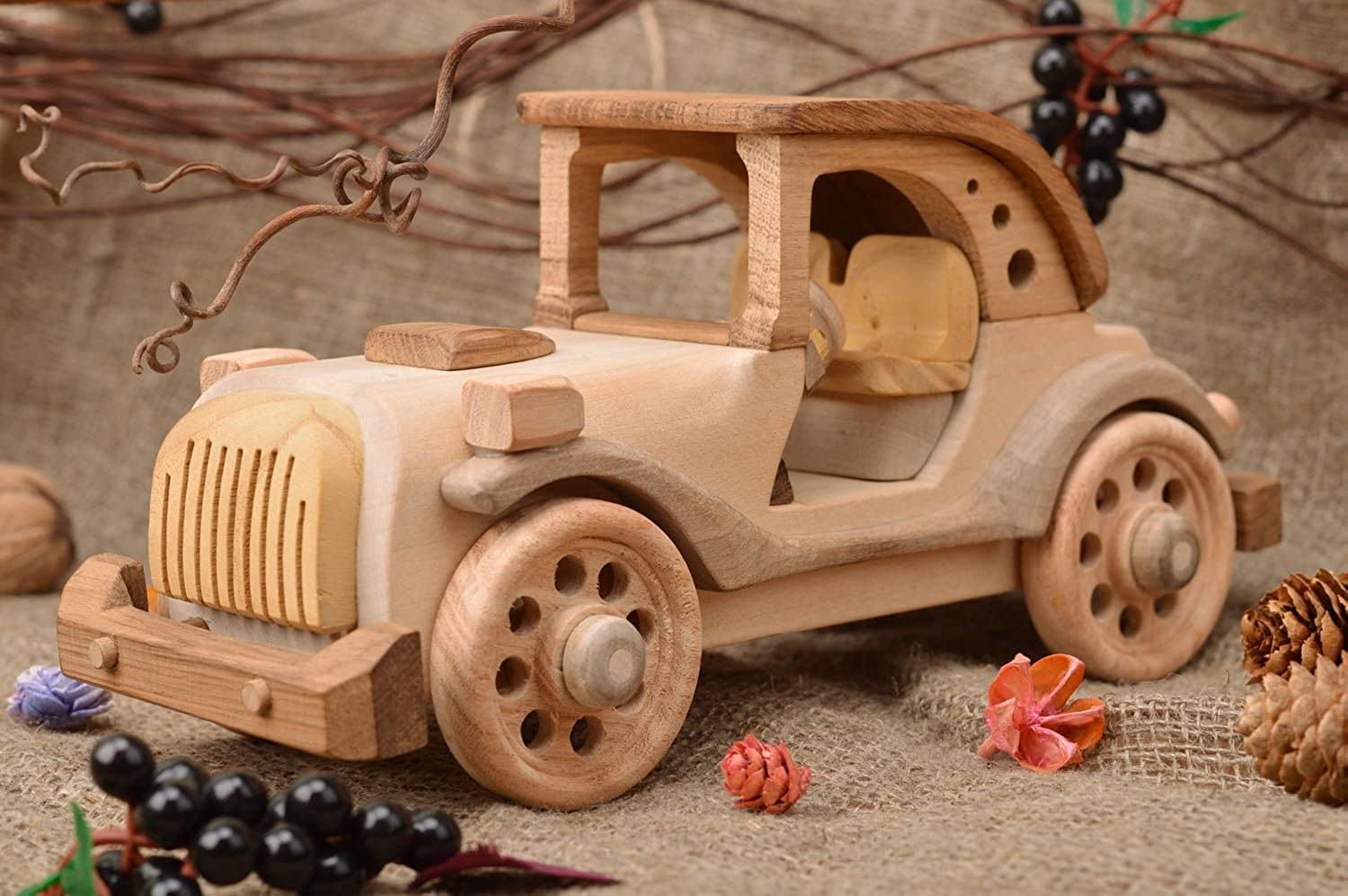 Handmade Designer Collectible Wooden Toy Retro Car Interior Decor