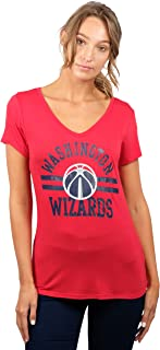 UNK NBA Women's T V-Neck Relaxed Short Sleeve Tee Shirt, Team Color, Red, Small