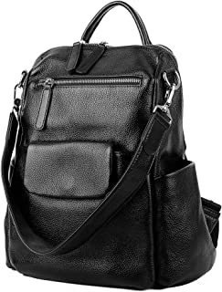YALUXE Women's Convertible Leather Shoulder Bag Versatile Backpack with Removable Small Crossbody Bag Black