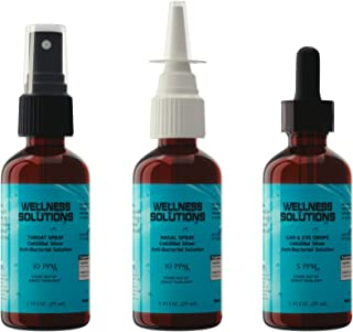 Colloidal Silver - Wellness Solutions - Ears, Eyes, Nose, Throat, Combo Pack - All Natural Immune Booster Supplement - Gluten Free! - Vegan