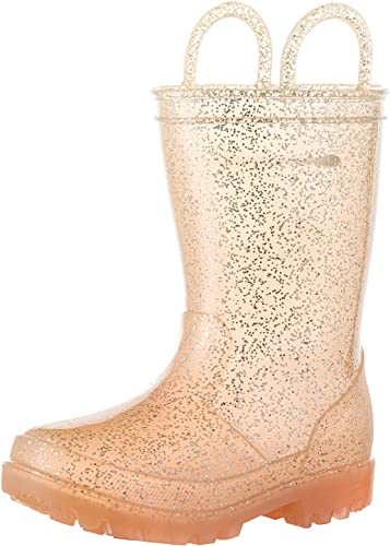 ALLENSKY Kids Glitter Rain Boots Waterproof with Easy-on Handles for Girls and Toddlers