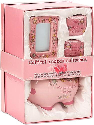BRUBAKER - Coffret cadeau Bébé/Naissance - 4 Pièces - Ma première tirelire, Boîte à dents de lait, Boîte à mèche de c...