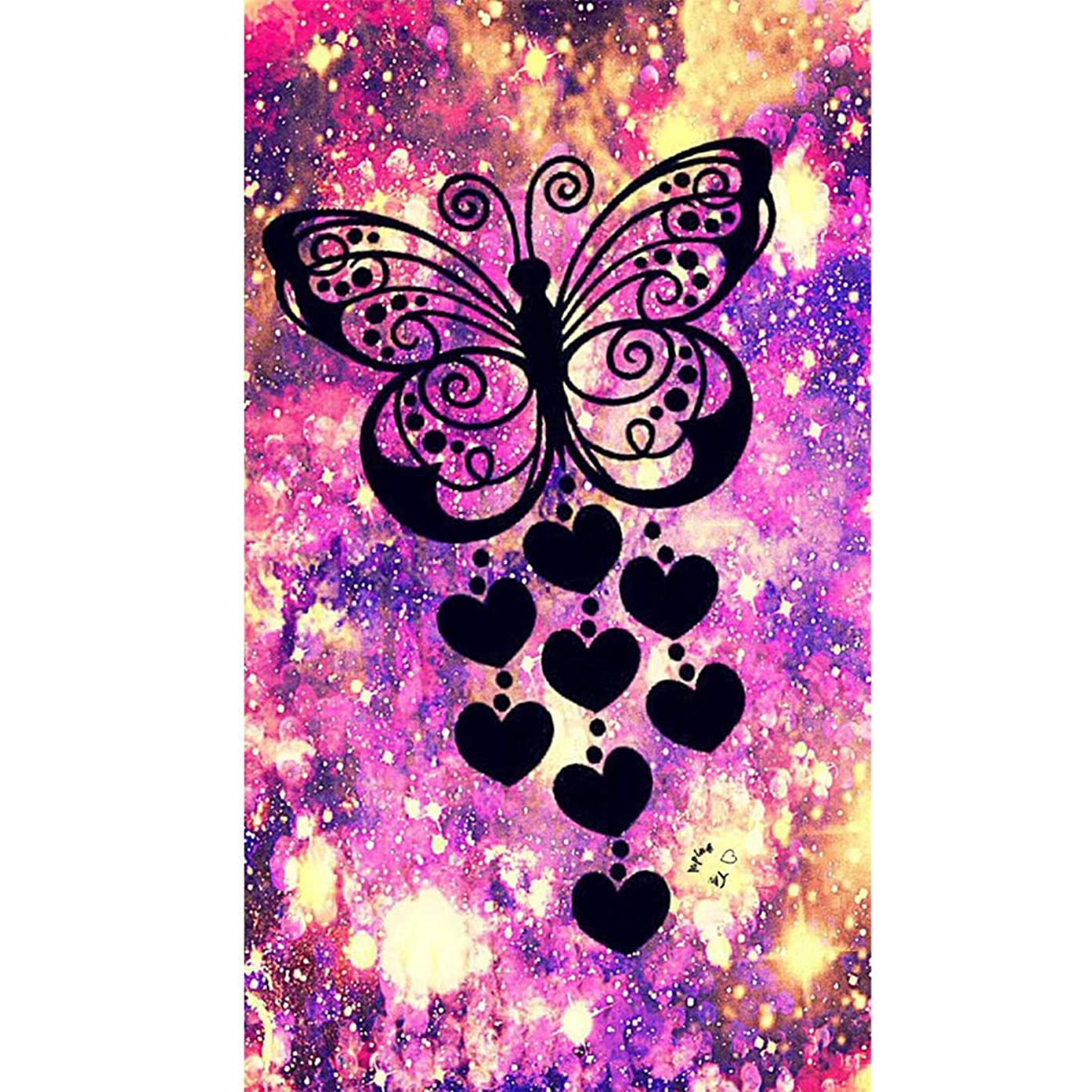 Full Drill DIY Square Diamond Painting by Number Kit, Butterfly Love Animal Embroidery Cross Stitch Rhinestone Pictures Arts Craft Home Wall Decor