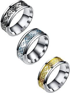 Tanyoyo 3 Pcs 8mm Celtic Dragon Rings for Men Women Stainless Steel Wedding Ring Set Size 6-14