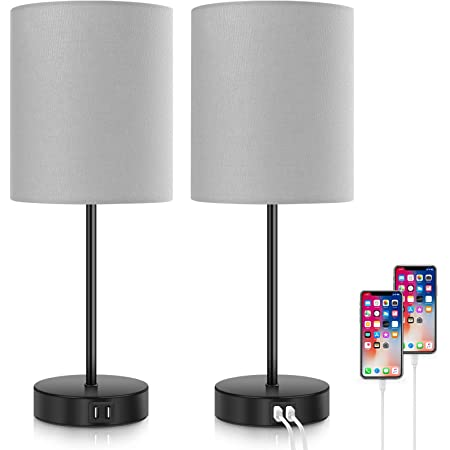 Set of 2 Touch Control Table Lamps Dimmable Desk Lamp with 2 USB Ports & AC Outlet Modern Beside Nightstand Lamp w/ Grey Fabric Shade Reading Lamp for Bedroom Living Room Office, Bulbs Included