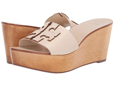Tory Burch 80 mm Ines Wedge Slide (New Cream/Gold) Women