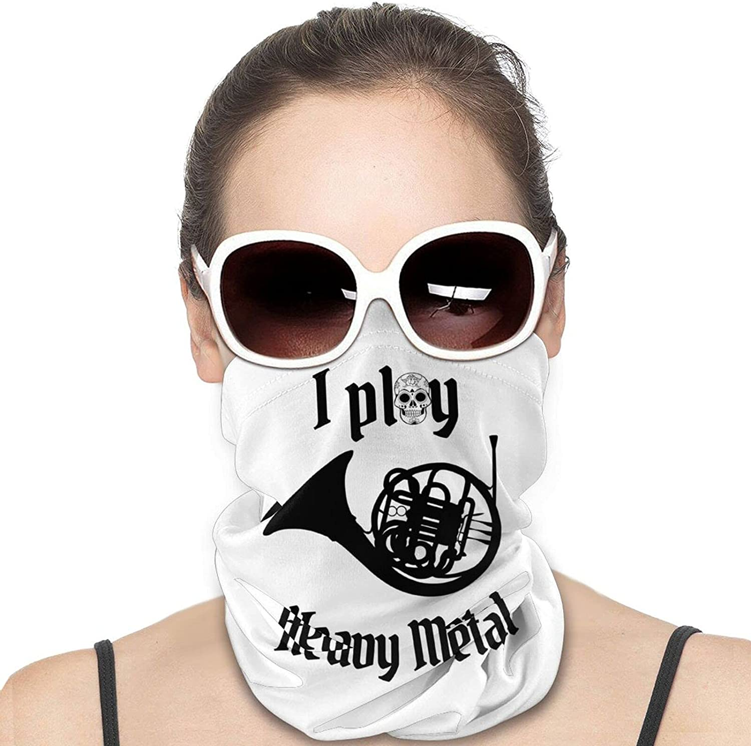 I Play Heavy Metal Round Neck Gaiter Bandnas Face Cover Uv Protection Prevent bask in Ice Scarf Headbands Perfect for Motorcycle Cycling Running Festival Raves Outdoors