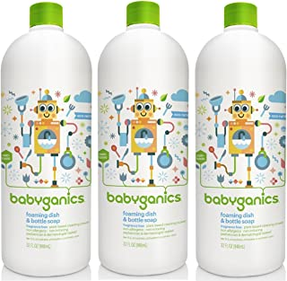 Babyganics Foaming Dish and Bottle Soap Refill, Fragrance Free, 32 Ounce, 3 Pack