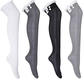 HDE Women's Extra Long Boot Socks Over the Knee High Lace Trim Stockings 4 Pair