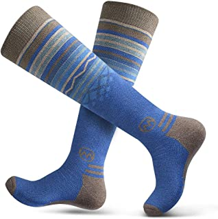 Adult Ski Socks (2-Pack) - Merino Wool Breathable Blend, Warm and Comfortable Over The Calf (OTC) Design with Non-Slip Cuff - for Men & Women