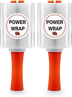 "Power Wrap Heavy Duty Industrial Stretch Wrap - with Rolling Handle 5"" x 1000ft 80 Gauge (2 Roll Pack) Moving Supplies, Plastic Wrap for Moving, Packing, Shrink, Self-Adhering Cling Film, Clear"