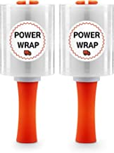 """Power Wrap Heavy Duty Industrial Stretch Wrap - with Rolling Handle 5"""" x 1000ft 80 Gauge (2 Roll Pack) Moving Supplies, Plastic Wrap for Moving, Packing, Shrink, Self-Adhering Cling Film, Clear"""