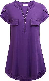 Women's Zippered V Neck Casual Short Sleeve Tunic Tops