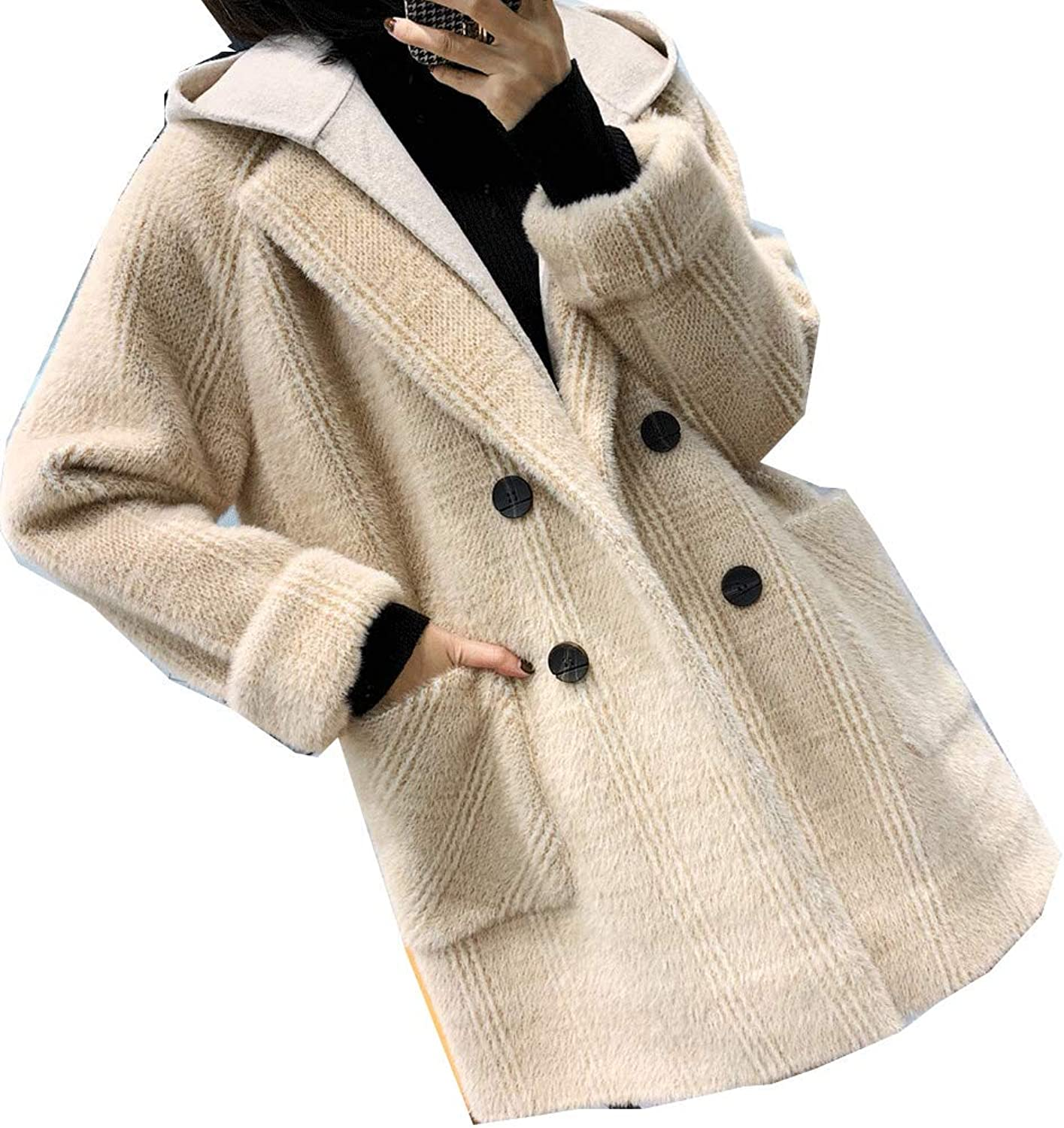 CG Women Open Front Fuzzy Cardigan Loose Fitting Long Jacket Coat with Hoodie L11