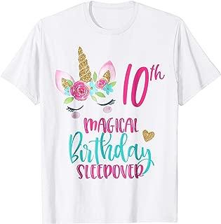 Unicorn 10th Magical Birthday Sleepover Party Shirt Girl Tee