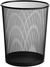 LONGren Mesh Round Wastebasket | Iron Office Trash Can, Home Study Garbage Container Thicken Not Easy to Rust Black 9.4x10...