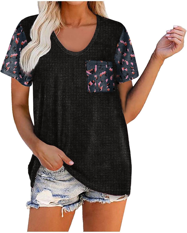 Womens Short Sleeve National uniform free shipping Shirts Blouses P Cheap SALE Start Women Print Casual Leopard