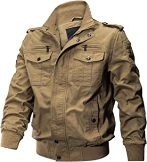 a71c3d8f KEFITEVD Men's Casual Cargo Jacket Autumn Military Bomber Jackets  Windbreaker Coat