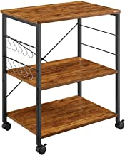 Mr IRONSTONE Kitchen Microwave Cart 3-Tier Kitchen Utility Cart Vintage Rolling Bakers..