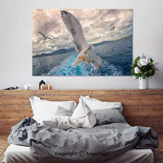 SfeatruAngel_SOSUNG Home Bedroom Decoration Modern Framed Artwork,Seagull Fishing(18