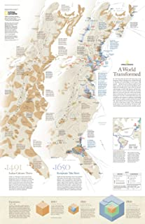 National Geographic: Colonial America 1491 vs. 1650 Wall Map - A World Transformed - 20.25 x 31.25 inches - Paper Rolled