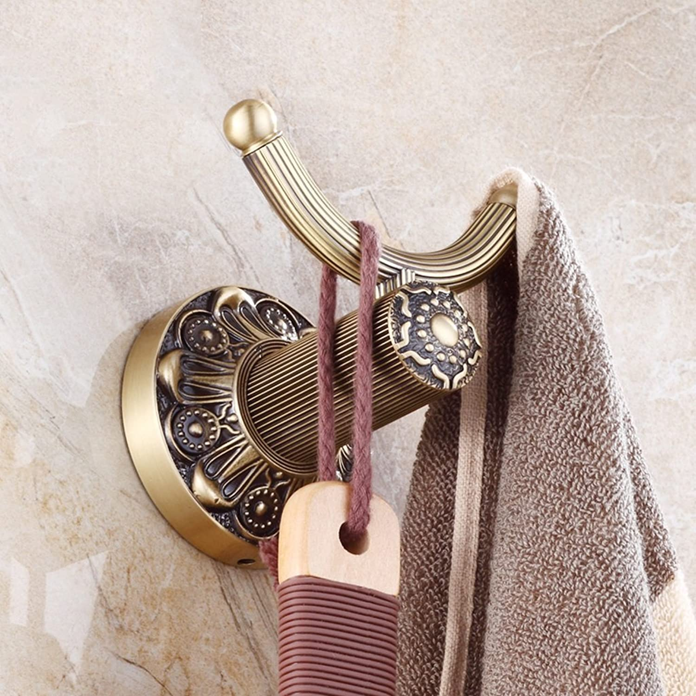 European Style All Copper Coat Hook Clothing Hooks Bathroom Bathroom Towels Double Hook